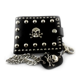 Biker Punk Rock Leather Chain Pocket Wallet Skull Stud Vintage Embroidered