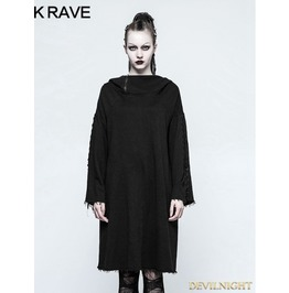 Black Gothic Punk Loose Sleeve Hoodie For Women Opy 223