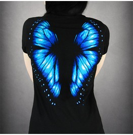 3d Butterfly Wing Print Women's Black T Shirt Top Blue Orange White
