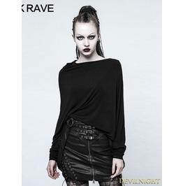 Black Gothic Punk 3 D Cutting T Shirt For Women Opt 136