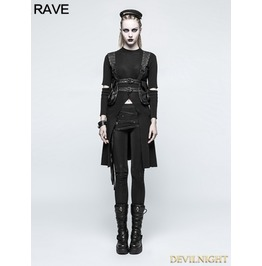 Black Gothic Punk Slit Sweater For Women Opm 052
