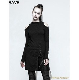 Black Gothic Slit Off The Shoulder Sweater For Women Opm 042
