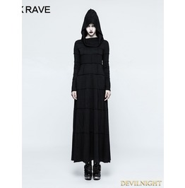 Black Gothic Punk Multi Split Hooded Dress Q 327