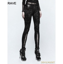 Black Gothic Punk Cloud Patterns Leggings For Women K 296