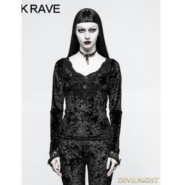 Black Gothic Diamond Velvet T Shirt For Women T 477