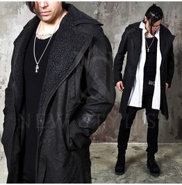 Distressed Leather Slim Shearling Coat 100