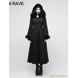 Black Gothic Disc Flowers Long Winter Fur Coat For Women Y 796