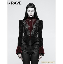Black And Red Gothic Scissor Tail Dress Jacket For Women Y 769