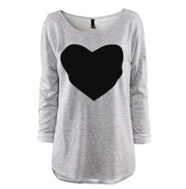 Fashion Love Heart T Shirt Women Long Sleeve Crew Neck Top Blouse Tee
