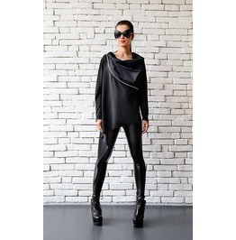 Black Asymmetric Top With Zippers / Long Sleeve Top / Asymmetric Black Top