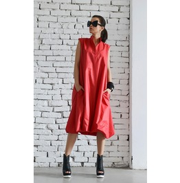 Red Maxi Dress / Plus Size Red Dress / Long Loose Dress / Red Midi Tunic