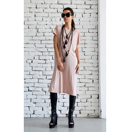 Long Tunic Top/Beige Summer Dress/Open Back Dress