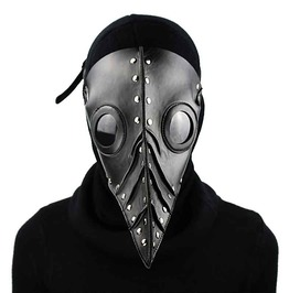 Black Pu Leather Silver Rivets Long Beak Plague Bird Steampunk Retor Mask