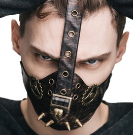 Steampunk Gothic Pu Leather Bullet Rivets Mechanical Design Face Mask