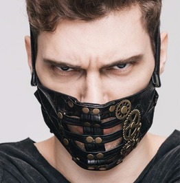 Steampunk Pu Leather Mechanical Metal Gear Metallic Pattern Rock Face Mask