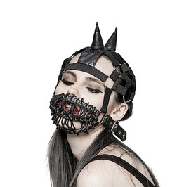Heavy Punk Gothic Cone Beanie Hat With Buckle Strap Mask