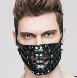 Gothic Punk Rock Black Pu Leather Rivet Men Women Face Mask