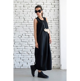 Oversize Tunic / Loose Kaftan / Sleeveless Loose Dress / Black Casual Top