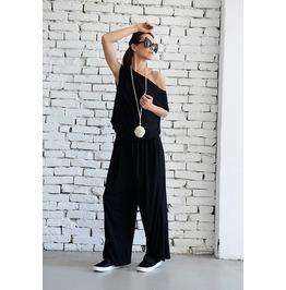 Black Sleeveless Jumpsuit / Wide Leg Pants / Black Loose Jumpsuit