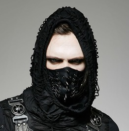 Gothic Steampunk Pu Leather Rivets Lace Up Mystery Assassin Face Mask