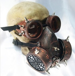 Steampunk Vintage Spiked Goggles And Gas Mask