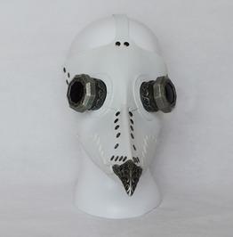 Steampunk Black White Faux Leather Bird Long Beak Plague Doctor Mask