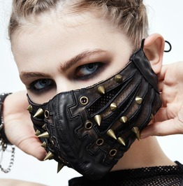 Steampunk Goth Metal Holes Rivets Pu Leather Face Mask