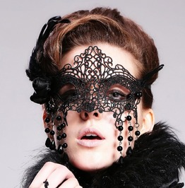 Goth Black Stones Feathers Three Dimensional Pattern Face Mask