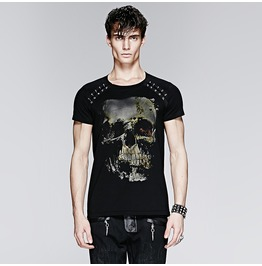 Skull Print Metal Detail Men's T Shirt Black