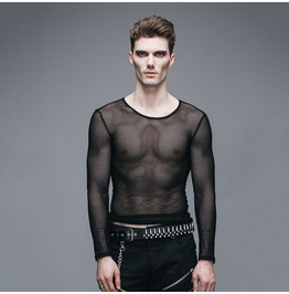 Men's See Through Net Long Sleeve Shirt