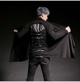 Men's Cut Out Long Sleeve Cardigan Black Top