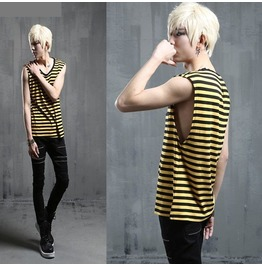 Post Punk Style Yellow Black Stripe Tank Top Mens