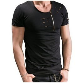Front Zip Open Hobo T Shirt Mens Black Grey
