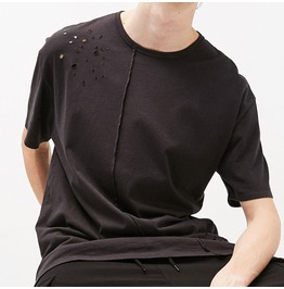 Asymmetrical Hole Black White Loose T Shirt