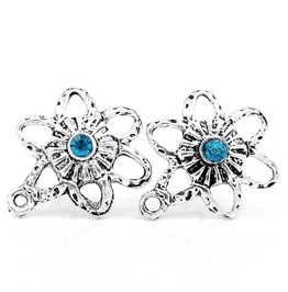 Unique Retro Vintage Blue Crystal Antique Silver Flower Star Stud Earrings
