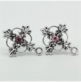 Gothic Retro Pink Rhinestone Flower Antique Silver Cross Stud Earrings