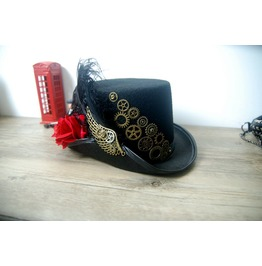 Black Steampunk Top Hat Halloween Victorian Hat