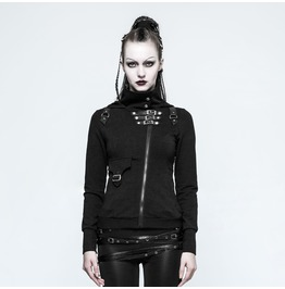 Punk Rave Women's Punk Buckles Hooded Jackets Y789