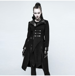 Punk Rave Women's Punk Turn Down Collar Double Breasted Slit Overcoat Y791