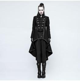 Punk Rave Women's Steampunk Military Swallow Tailed Woolen Overcoat Y786