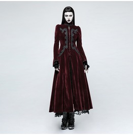 Punk Rave Women's Gothic Palace Swallow Tail Velvet Maxi Overcoat Y776