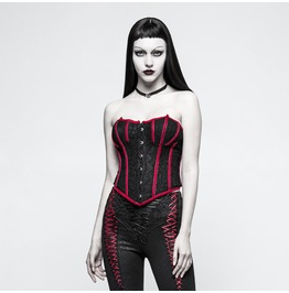 Punk Rave Women's Gothic Stripes Jacquard Overbust Corset Y779 Rd