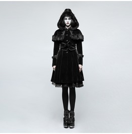 Punk Rave Women's Lolita Hooded Woolen Overcoat With Belts Ly065