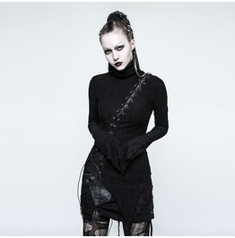 Punk Rave Women's Punk High Collar Lace Up Ripped Sweater T478