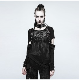 Punk Rave Women's Punk Mesh Skull T Shirts With Detachable Sleeves T482
