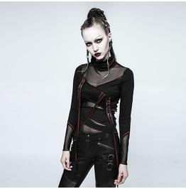 Punk Rave Women's High Collar Mesh Sheer Straps Tops T480