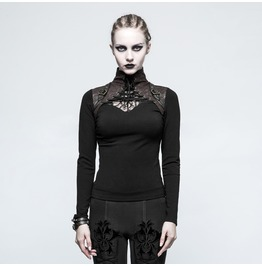 Punk Rave Women's Steampunk High Collar Lace Long Sleeved Tops T476