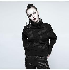 Punk Rave Women's Punk Hand Painted High Collar Asymmetry Sweater Opt121