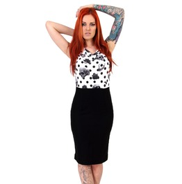 Women's Jaw Breaker Skull And Polka Dot Pencil Skirt Dress
