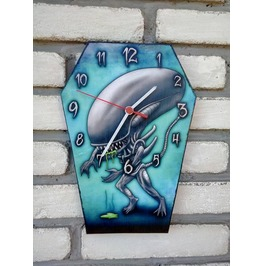 Alien Inspiration Wooden Coffin Shaped Wall Clock. Handmade Clock.